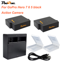 2x 1600mAh Batteries for GoPro Hero 5 6 hero 7 Camera battery AHDBT 501 Bateria+ AHDBT 501 box dual Charger Go Pro Hero5 hero6
