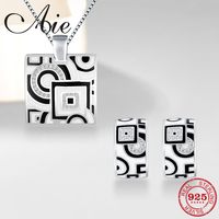 Fashion gift 925 Sterling Silver square geometry pattern black and white Enamel fine earring Necklace Pendant Party Jewelry set