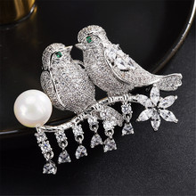 Trendy Cubic Zircon Simulated Pearl 2 Bird Standing On The Branch Animal Bridal Wedding Brooch Pin For Women