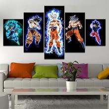Canvas Wall Art Poster 5 Pieces Dragon Ball Z Pictures Living Room Modular Printed Cartoon Super Saiyan Goku Painting Home Decor