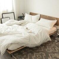 Cotton Bedding Tassel Princess Bedding Sets Luxury Fringed Duvet Cover Modern Quilts Sheet Set Bedspread Bedclothes Bed Linen
