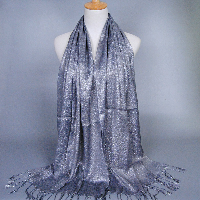 Women's Scarves Kind-Hearted Muslim Women Gold Thread Shine Crinkle Hijab Shawl Scarves Sunscreen Silk Plain Foulard Wrap Cover Head Neck Beach Tassels Scarf Rapid Heat Dissipation