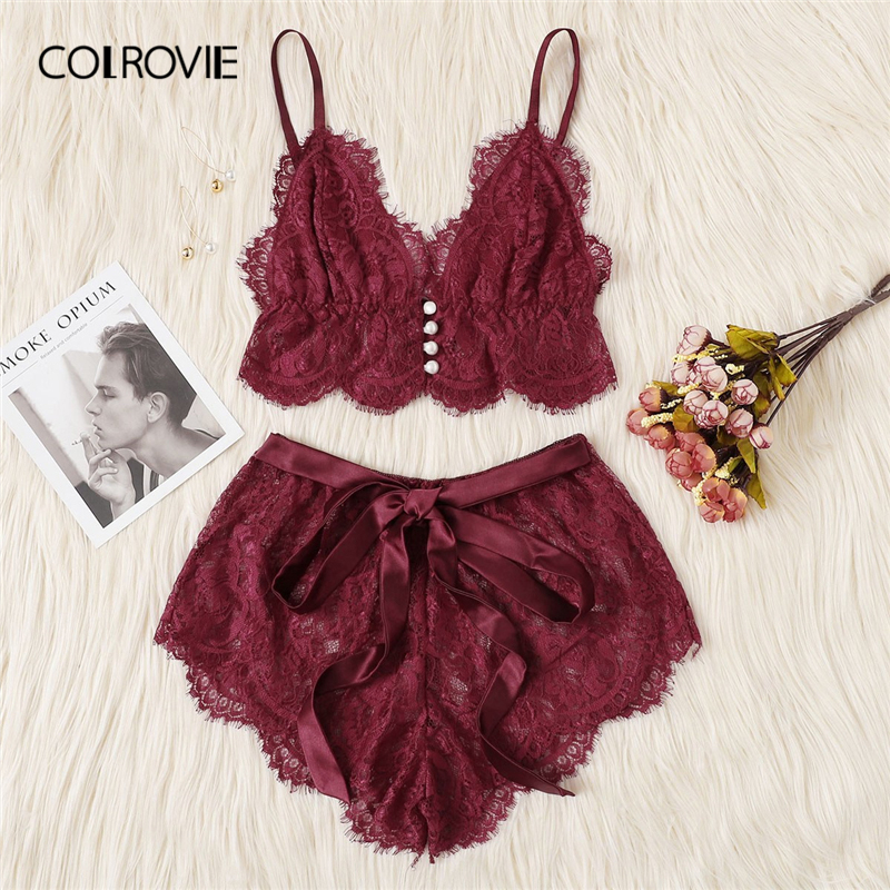 COLROVIE Burgundy Ribbon Scalloped Floral Lace Sexy Intimates Women Lingerie Set 2019 Fashion Bralette Underwear Bra Set