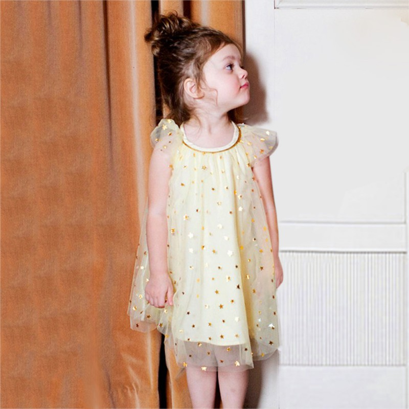 Girl Dresses Star-Dot Princess Kids Summer Sleeveless Crew Mesh Tiered Cute A-Line Ncek