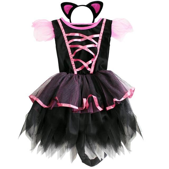 placeholder Kids Girls Kitty Cat Cosplay Costumes Cotton Halloween Party  Dancewear Princess Fairy Fancy Tutu Dress Outfits b9c6945ba310
