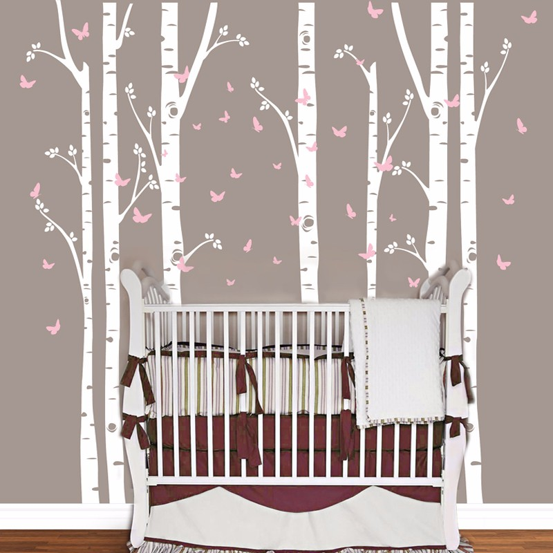 Huge Removable Birch Tree Butterfly Vinyl Wall Art Decals