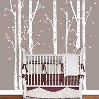 Huge Removable Birch Tree Butterfly Vinyl Wall Art Decals Large Wall Stickers Baby Nursery Bedroom Decoration Home Decor LL003