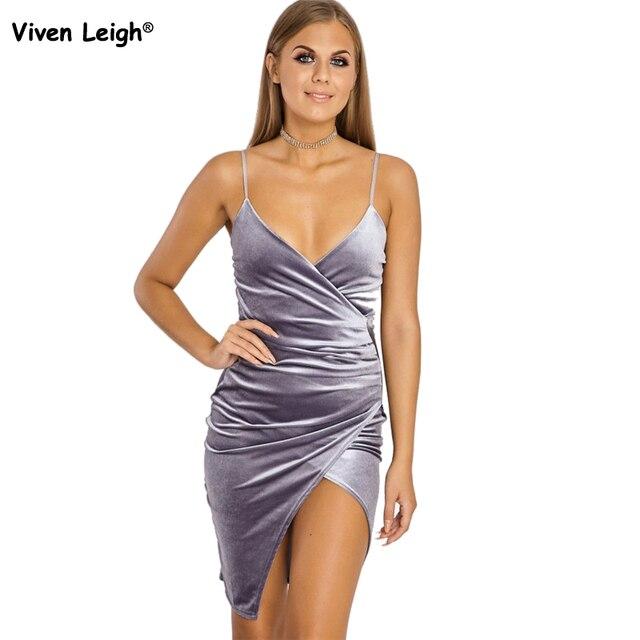 35c9b8e4d2fc4 Sexy Women Spaghetti Strap V Neck Velvet Wrap Dress Backless Strappy Wrap  Mini Plunge Asymmetric Sexy Party Dress Clubwear