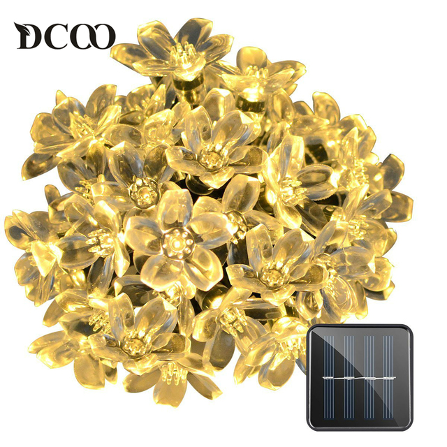 Dcoo solar string lights 50 leds fairy flower blossom christmas dcoo solar string lights 50 leds fairy flower blossom christmas fairy party lights outdoor lighting strings mozeypictures Image collections