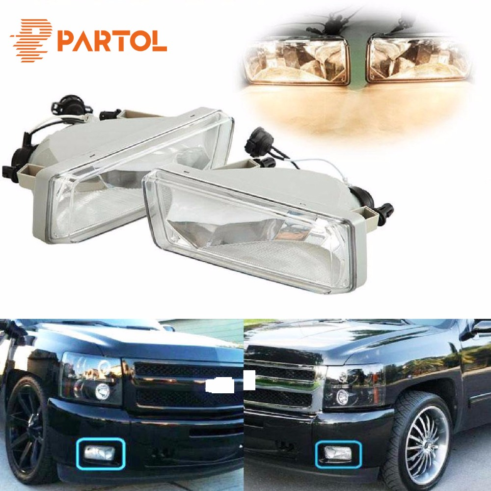 Partol A pair of H16 halogen fog lights for Chevy Suburban Avalanche Tahoe Front Halogen Fog Lamp Fog Light Left And Right Side for audi q7 2007 2008 2009 new pair of halogen front fog lamp fog light with bulbs 8p0941699a 8p0941700a