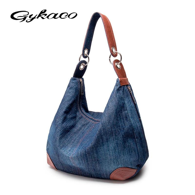 Gykaeo 2017 Women Large Capacity Denim Blue Canvas Handbag Ladies Leisure Tote Bags for Women Messenger Shoulder Bags Sac A Main taomaomao women leisure canvas shoulder messenger bags handbag