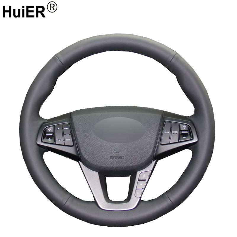 HuiER Hand Sewing Car Steering Wheel Cover Comfortable Black Leather For Hyundai Mistra 2013 2014 Automobile Car Styling
