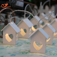 Wooden House Lights Wood Loving Heart Decoration 10LED String Light Party Fairy Lighting Bedroom Decorative Battery