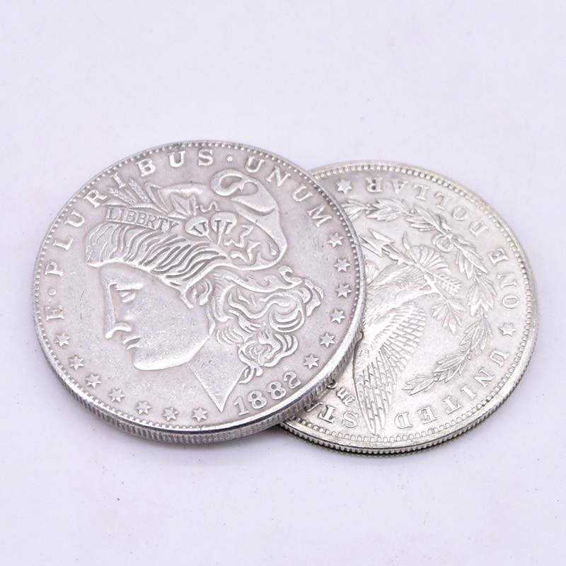 Supper Copper Flipper Coin Butterfly Morgan Dollar Coins Magic Tricks Close Up Magia Illusion Accessories Gimmick Prop Magicians