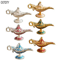 OOTDTY Metal Genie Lamp Light Wishing Teapot Retro Furnishing Articles Pot Decoration Home Ornaments
