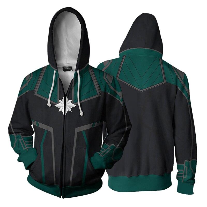 New Avengers 4 Surprise Captain cosplay Zipper Sweater 3D Digital Print Hooded Hoodie