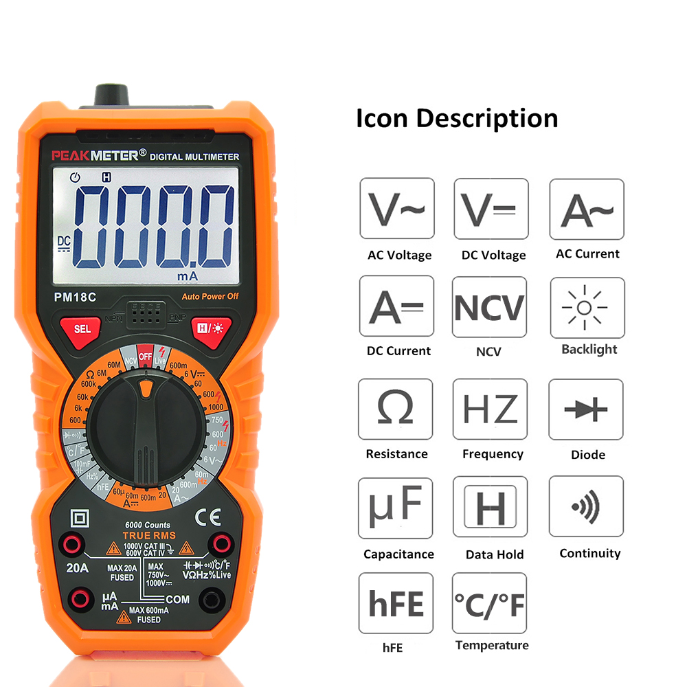Digital Multimeter Measuring AC/DC Voltage Current Resistance Capacitance Frequency Temperature hFE NCV Live Line Tester фонарь велосипедный bbb spycombo helmetmount 2 x cr2032