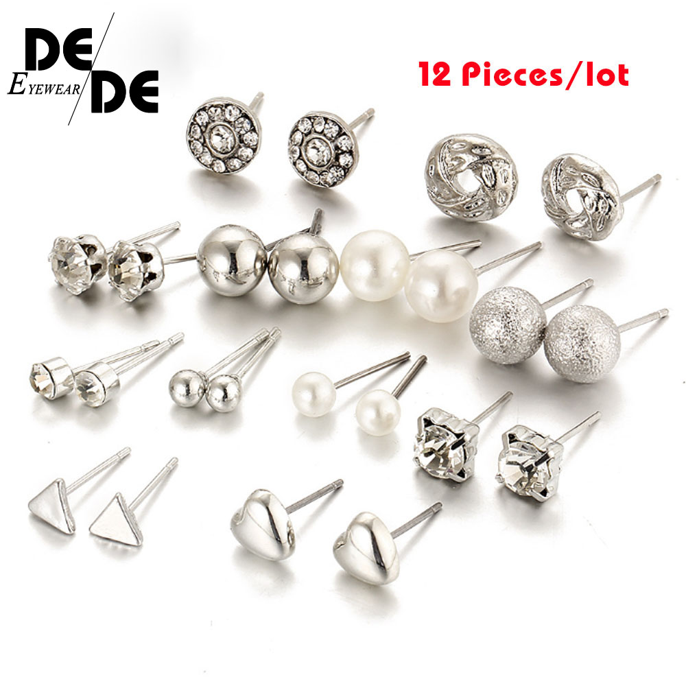 12 Pcs/Set Crystal Alloy Round Ball Gold Color Stud Earrings Vintage Silver Color Simulated Pearl Earring Set For Women Gift