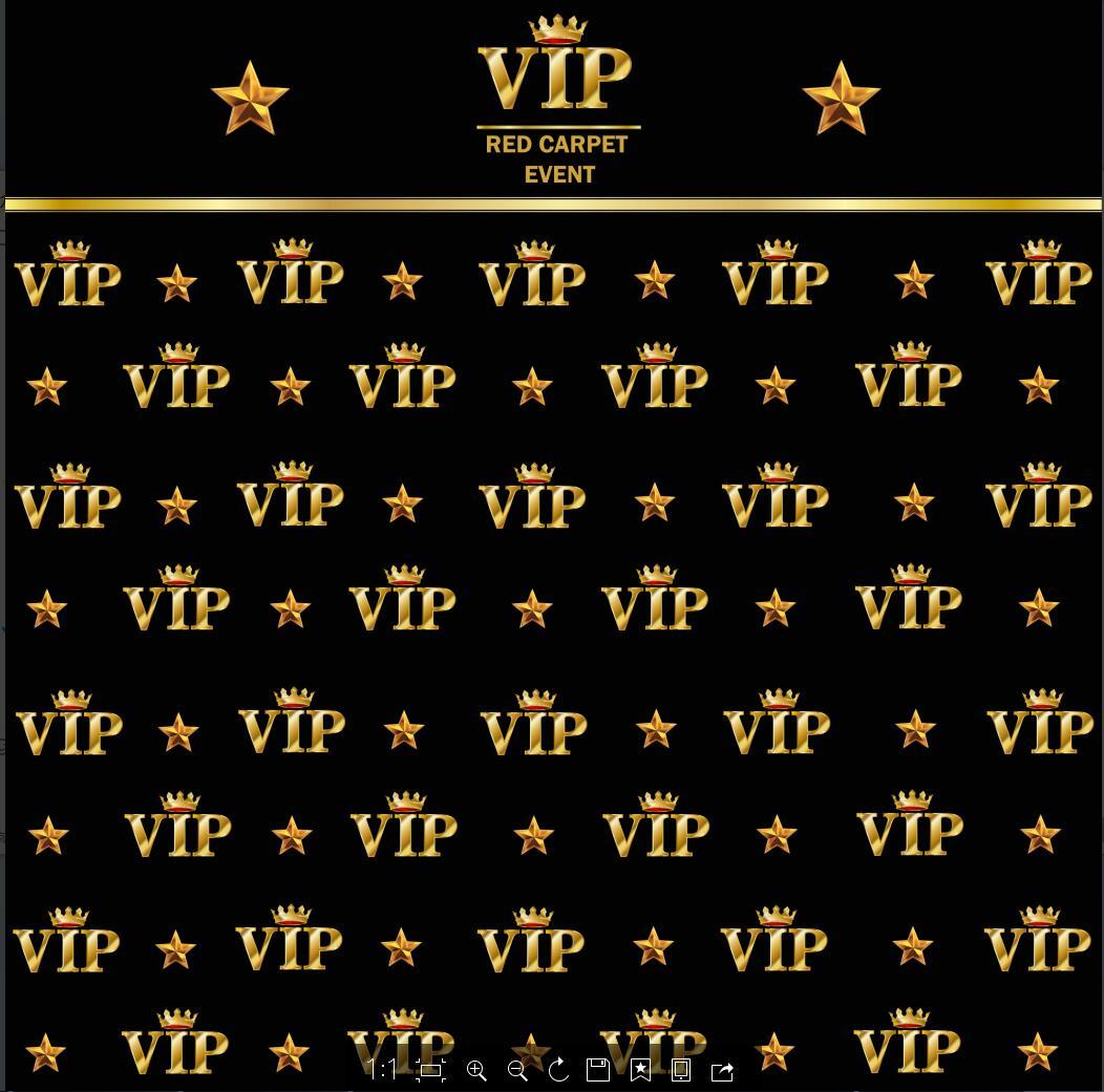 Golden Crown Star Vip Black Backdrop Vinyl Cloth High