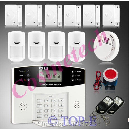 Home alarm system with smoke sensor,door/window magnet sensor,PIR detector,security GSM alarm system for anti-theft system 433mhz dual network gsm pstn sms house burglar security alarm system fire smoke detector door window sensor kit remote control