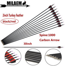6/12pcs 30inch Archery Mix Carbon Arrow Spine1000 ID4.2mm OD6.0mm 2inch Turkey Feathers Outdoor Sports Shooting Accessories