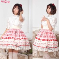 Pink sweet Lolita Skirt strawberry Printed Polyester mini Lace trim summer elastic