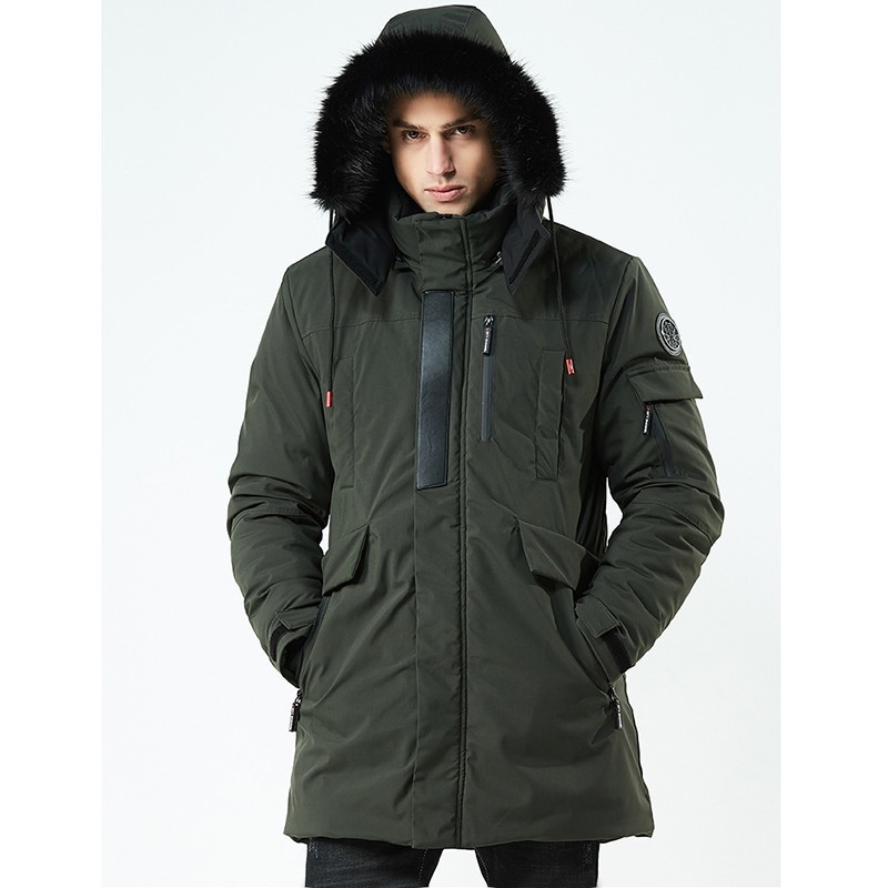 2019 Thickening Winter Coat Men Long Military Jacket Windbreak Cotton-padded Jacket Parka Men Warm Clothes Veste Homme Hiver(China)
