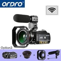 ORDRO HDR AC3 UHD 4 к цифровые видеокамеры FHD 1080 P 24MP WiFi 3,0 сенсорный экран 30x зум мини видеокамеры DV Cam цифровые камеры