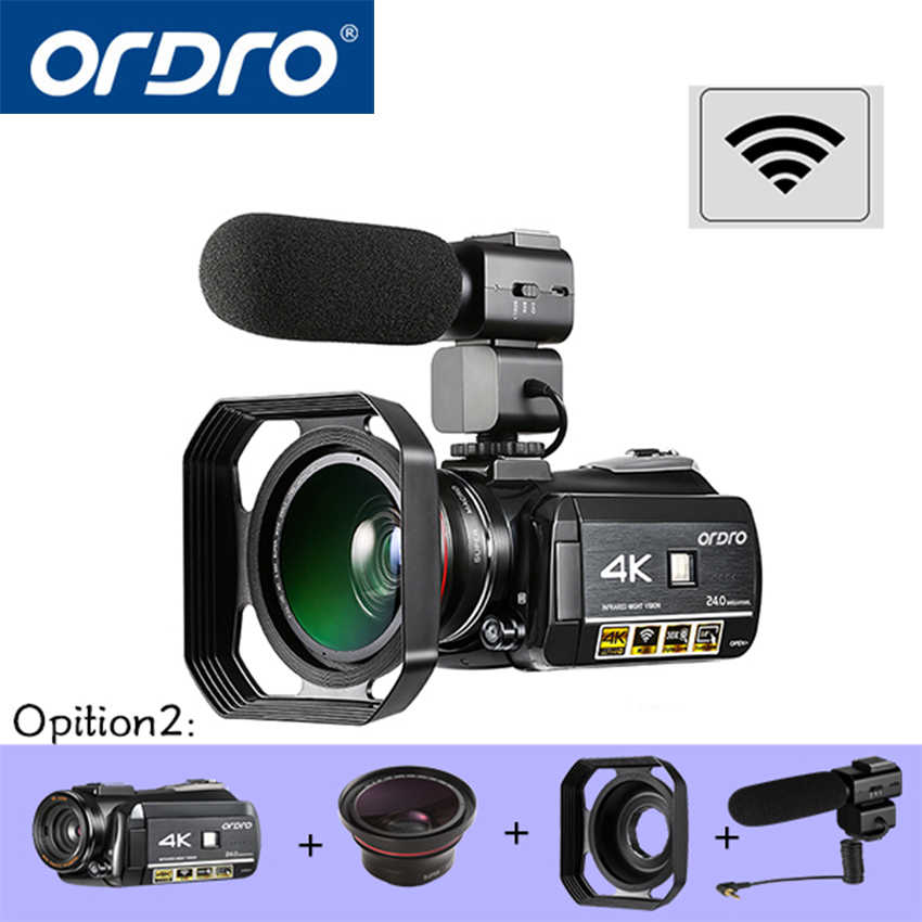 ORDRO HDR-AC3 UHD 4 K Numérique caméras vidéo FHD 1080 P 24MP WiFi 3.0 écran tactile 30x Zoom mini caméscopes DV Cam appareils photo numériques