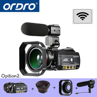 ORDRO HDR AC3 UHD 4K Digital Video Cameras FHD 1080P 24MP WiFi 3.0 Touch screen 30x Zoom Mini Camcorders DV Cam digital cameras
