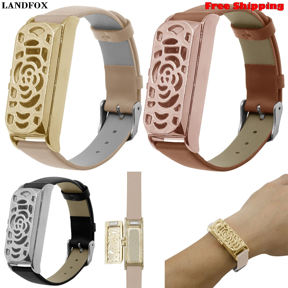LANDFOX Leather Accessory Bangle Watch Band Wrist Strap