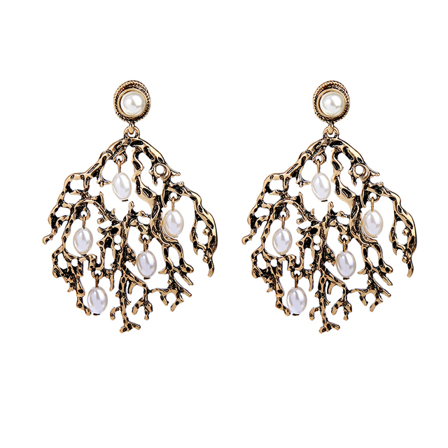 Antique Gold Color Branched Vintage Earrings Online Ping India Simulated Pearl Women Jewelry