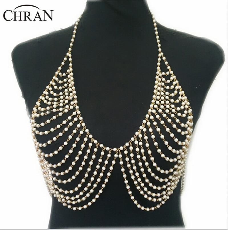 Chran nouvelle mode Imitation perle plage chaîne collier bijoux en alliage or argent Multi couche chaîne soutien-gorge colliers pour femmes BY349