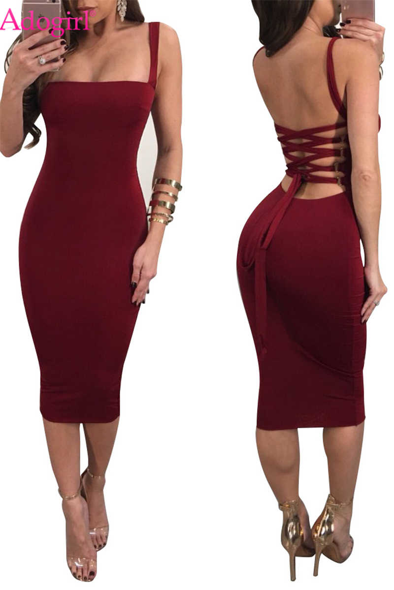 6be2d132c621 Adogirl Women Sexy Strapless Spaghetti Straps Midi Dress Solid Open Back  Lace Up Bandage Party Club