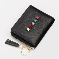 Sweet Lady Litchi Pattern Multi functional Small Wallet Short Genuine Leather Fashion Cute Cartoon Decorative Mini coin purse