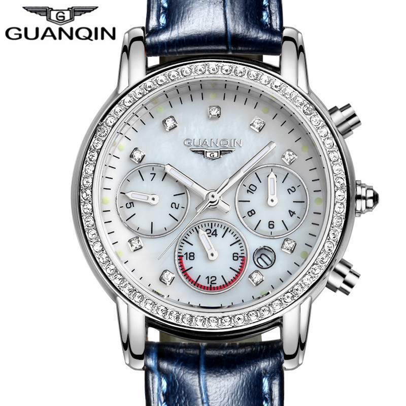 Relogio feminino 2017 GUANQIN montres femmes marque de luxe lumineux Date horloge dames mode bracelet en cuir décontracté montre à Quartz