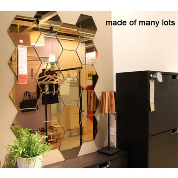 12Pcs 3D Mirror Hexagon Vinyl Removable Wall Sticker Decal Home Decor Art DIY Home Decor Living Room Mirrored Sticker Gold 1