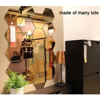 12Pcs 3D Mirror Hexagon Vinyl Removable Wall Sticker Decal Home Decor Art DIY Home Decor Living Room Mirrored Sticker Gold 1