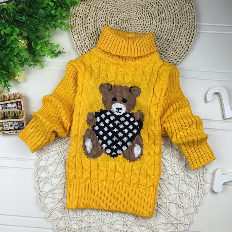 Big Size 2T-7T pullover winter autumn infant baby sweater boy girl child knitted sweater turtleneck sweater children outerwear 3