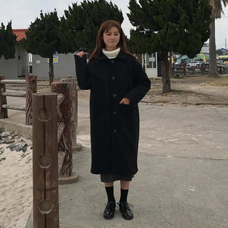 A Autunno Di C622 Coreano Donna Petto Donne 2019 Inverno Colour Black Giacche caramel Lana Medio lungo Singolo Tasca Cappotto AIWq5v