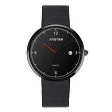 Ananke Black Minimalist Leather Causal Super Thin Simple Men Watches Quartz Clock Wrist Watch Relogio masculino Orologio Uomo