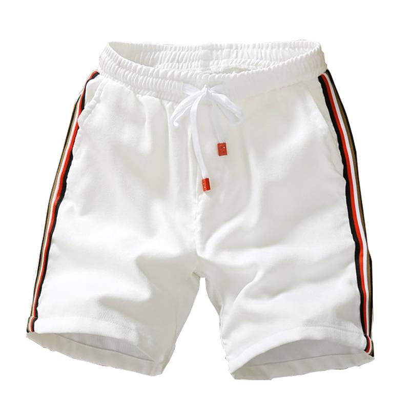 2019 Summer New Fashion Shorts Loose Men's Casual Shorts Striped Black White Drawstring Waist Bermuda Shorts Men Plus Size 5XL