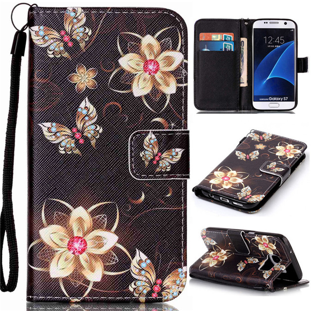Case Cover For Samsung Galaxy S7 Case Stand Wallet Flip PU Leather Protective Phone Casing