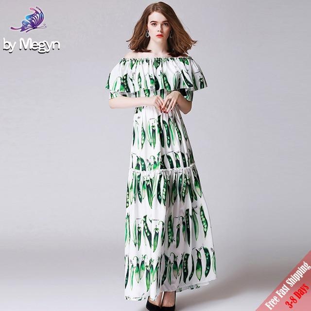 08e7503b6825b 2018 Runway Fashion Designer Maxi Dress Women s Elegant Slash Neck Green  Beans Printed A Line Long
