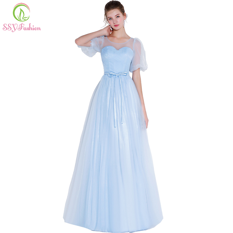 SSYFashion New   Bridesmaid     Dresses   Sweet Light Blue Simple Floor-length Short Sleeve Prom Party Gown Formal   Dress   Robe De Soiree
