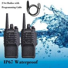 BAOFENG водонепроницаемый двухсторонний радиоприемник, 2 комплекта, 8 Вт, IP67, FM приемопередатчик с аккумулятором 2800 мА/ч, радио, рация с ветчиной