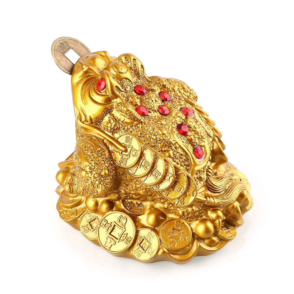 Resin Gold Toad Ruby Coin Lucky Feng Shui Fortune Ornament Gift Home Decor Mascot Lucky Gift Decoration