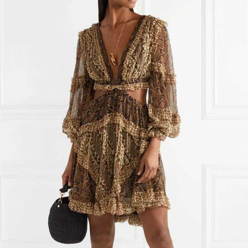 High End Women Sexy Dress Mini Retro Printed Hollow Out Beach Dresses 2019 Ladies Luxury Ruffles