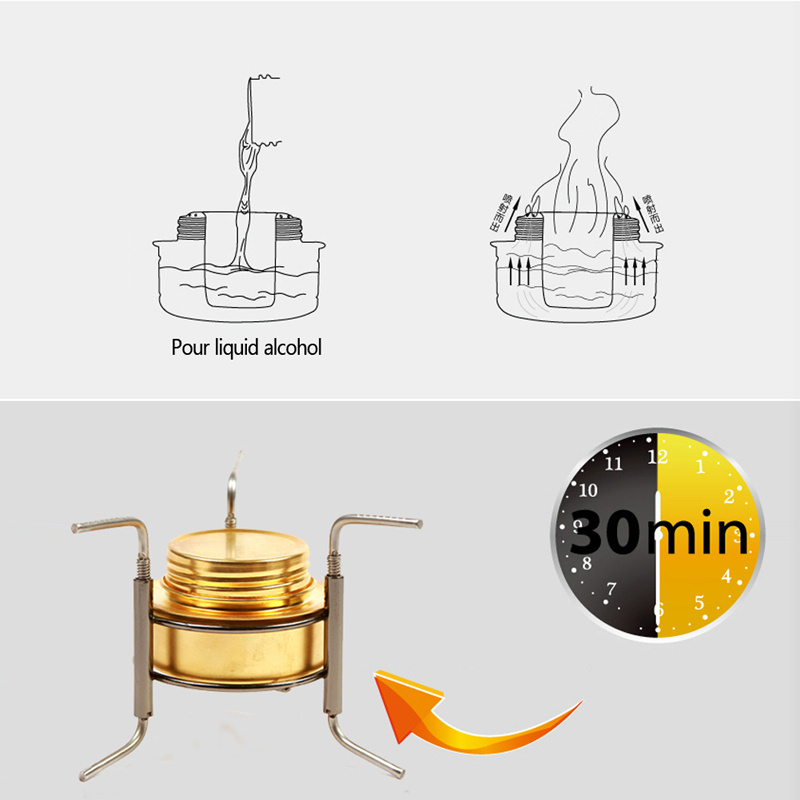 1 PC BBQ Camping Equipment Copper Mini Ultra-light Spirit Alcohol Stove Outdoor Furnace T20
