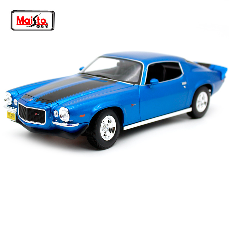 Maisto 1:18 1971 Chvrolet Camaro Blue orange Vintage muscle car model Diecast Model Car Toy New In Box Free Shipping 31131 image